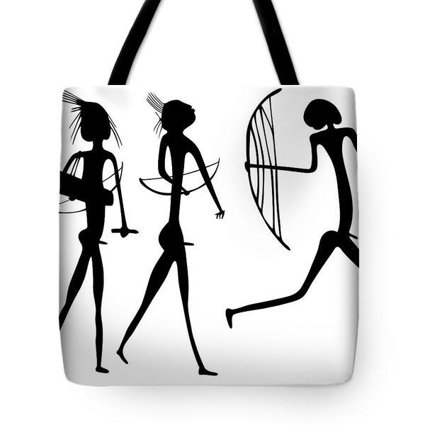 Warriors - Primitive Art Tote Bag by Michal Boubin