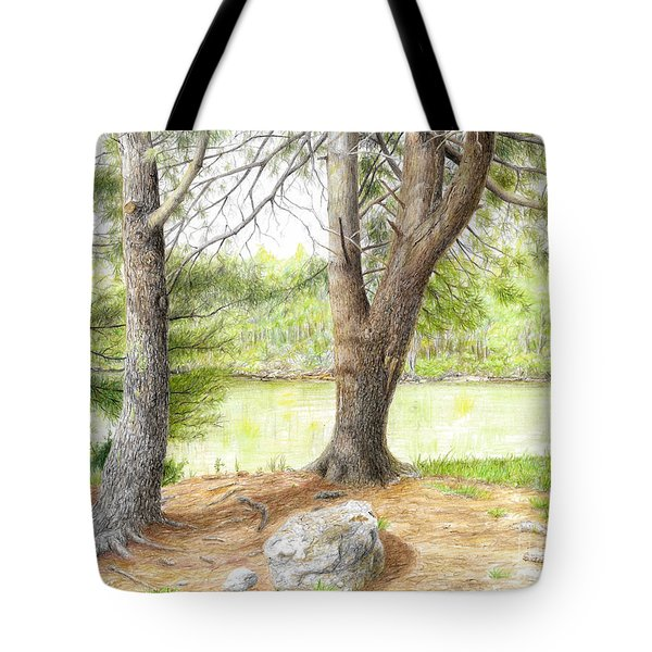 Tote Bag featuring the drawing Warriors Path St Park by Mike Ivey