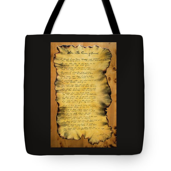 War's Poem Tote Bag