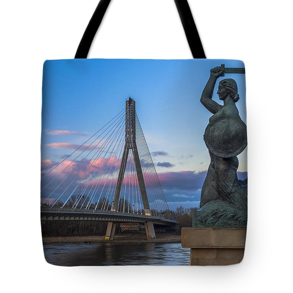 Tote Bag featuring the digital art Warsaw Mermaid And Swiatokrzyski Bridge On Vistula by Julis Simo