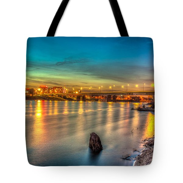 Tote Bag featuring the photograph Warsaw Reflected By Vistula River by Julis Simo