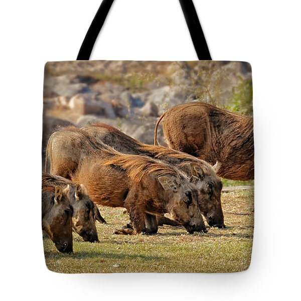 Warthogs Doing Lunch Tote Bag by Joe Bonita