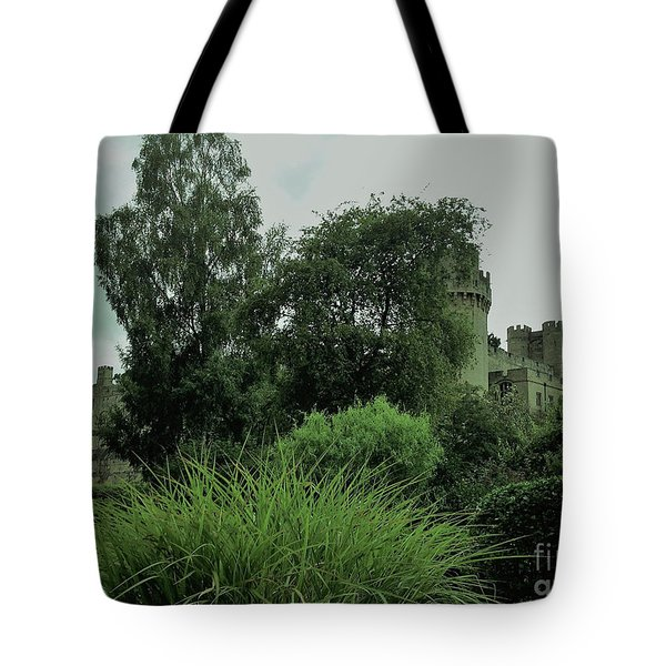 Warwick Castle Bathed In Green Light Tote Bag
