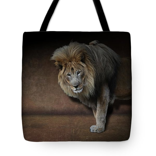 Tote Bag featuring the photograph Was That My Cue? - Lion On Stage by Debi Dalio