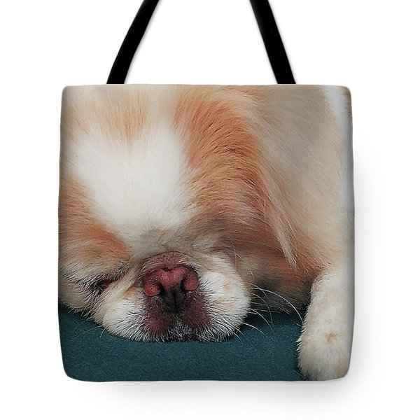 Tote Bag featuring the photograph Wasabi, Japanese Chin. by Roger Bester