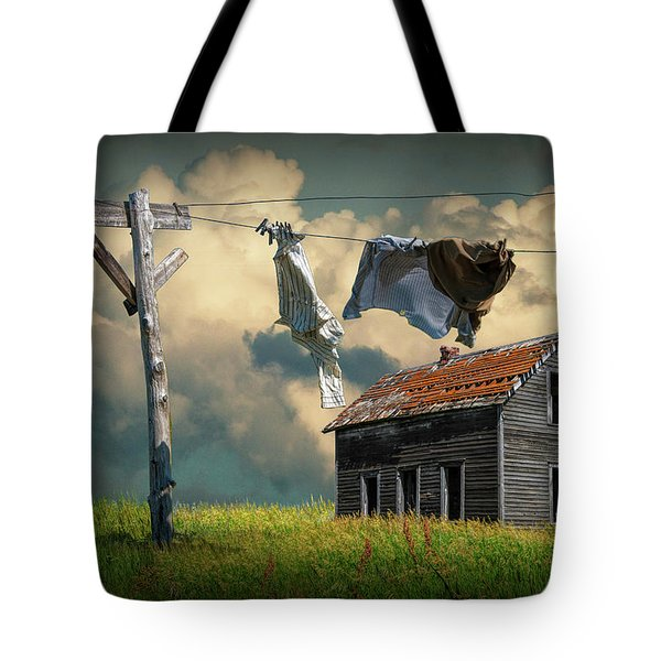 Wash On The Line By Abandoned House Tote Bag