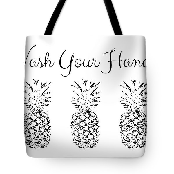 Wash Your Hands Pineapples- Art By Linda Woods Tote Bag