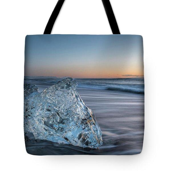 Washed Up Ice At Dawn Tote Bag