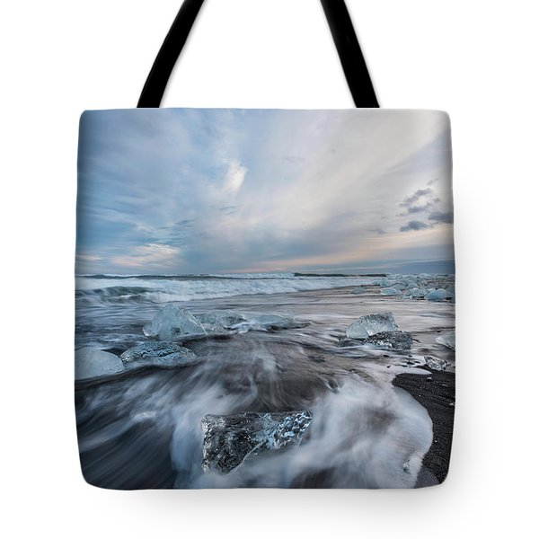 Washed Up Ice Sunset Tote Bag by Scott Cunningham