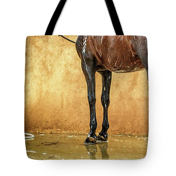 Washing A Horse Tote Bag