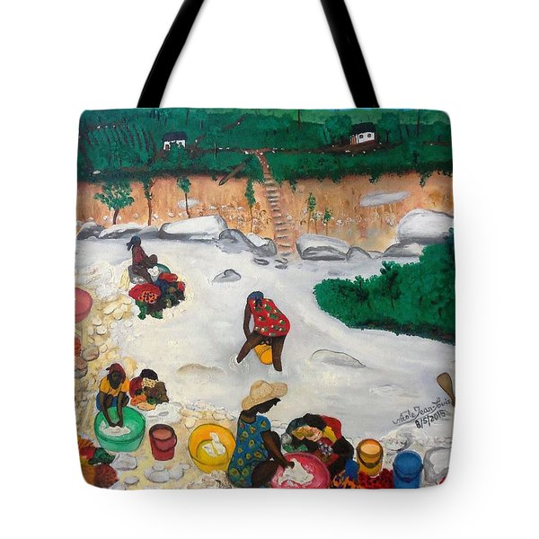 Washing Clothes By The Riverside In Haiti Tote Bag