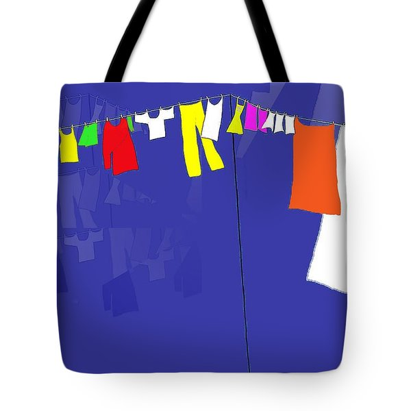 Tote Bag featuring the digital art Washing Line by Barbara Moignard