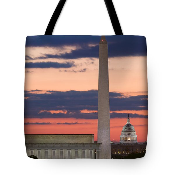 Washington Dc Landmarks At Sunrise II Tote Bag