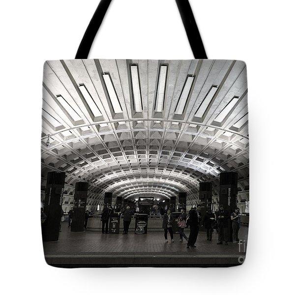 Washington Dc Metro Metro Center Stop Tote Bag by Art Whitton