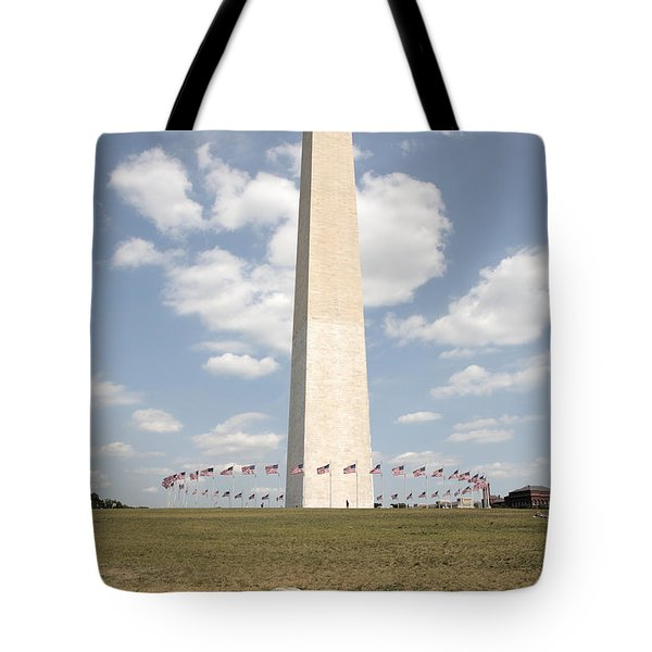 Washington Monument And Jefferson Pier In Washington Dc Tote Bag