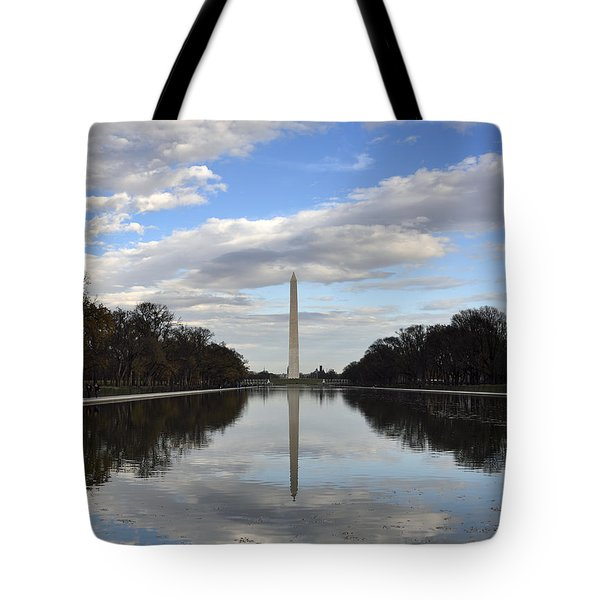 Washington Monument And Reflecting Pool Tote Bag by Brendan Reals