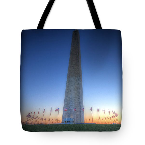Tote Bag featuring the photograph Washington Monument At Sunset by Shelley Neff