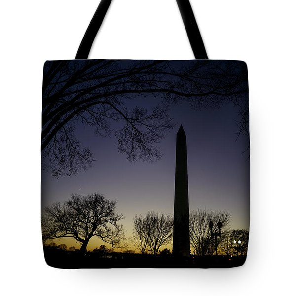 Washington Monument At Twilight With Moon Tote Bag