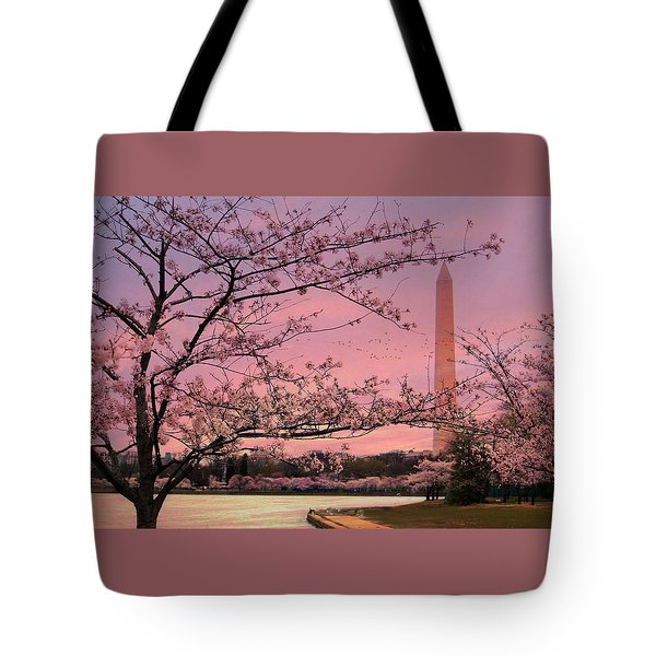 Tote Bag featuring the photograph Washington Monument Cherry Blossom Festival by Shelley Neff