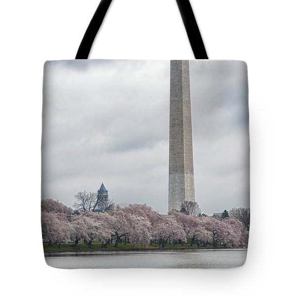 Washington Monument During Cherry Blossom Festival  Tote Bag by Sebastian Musial