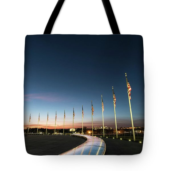 Washington Monument Flags Tote Bag