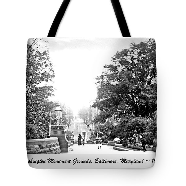 Tote Bag featuring the photograph Washington Monument Grounds Baltimore 1900 Vintage Photograph by A Gurmankin