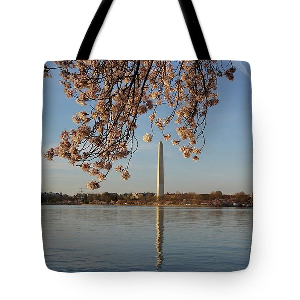 Washington Monument With Cherry Blossoms Tote Bag by Megan Cohen