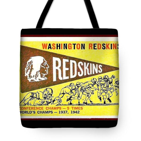Washington Redskins 1959 Pennant Card Tote Bag by Paul Van Scott