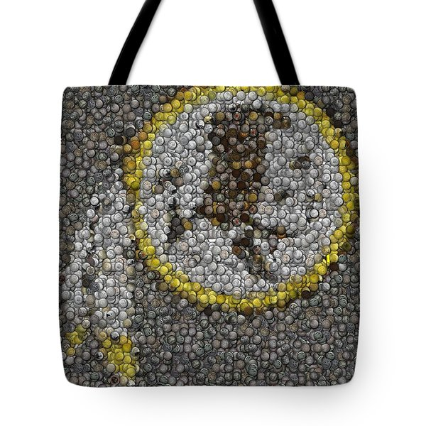Tote Bag featuring the mixed media Washington Redskins Coins Mosaic by Paul Van Scott