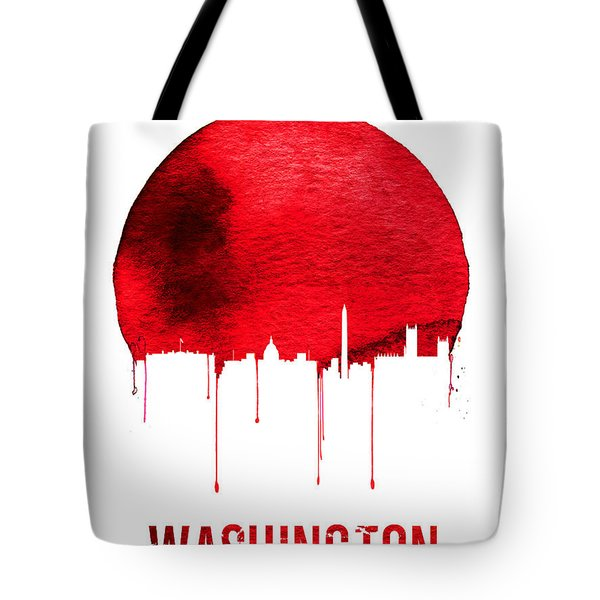 Washington Skyline Red Tote Bag by Naxart Studio