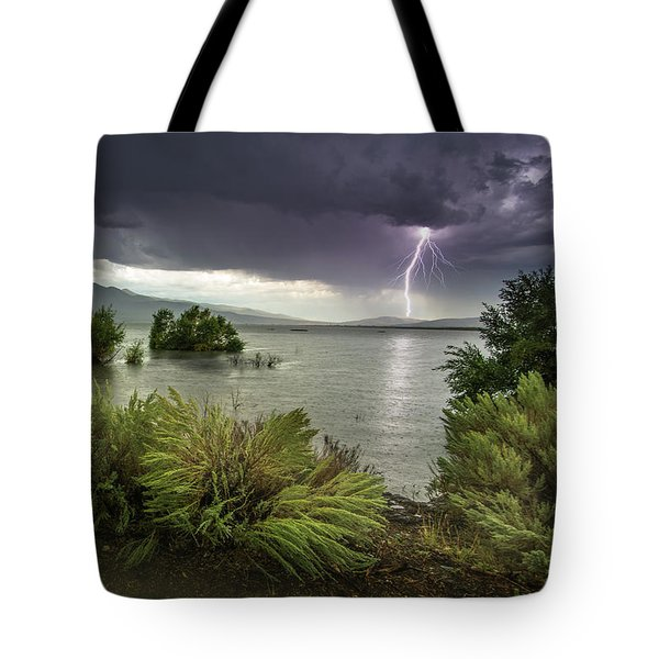 Washoe Lake Lightning Tote Bag