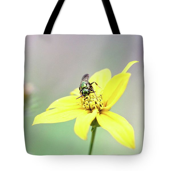 Tote Bag featuring the photograph Wasp On Coreopsis by Trina Ansel