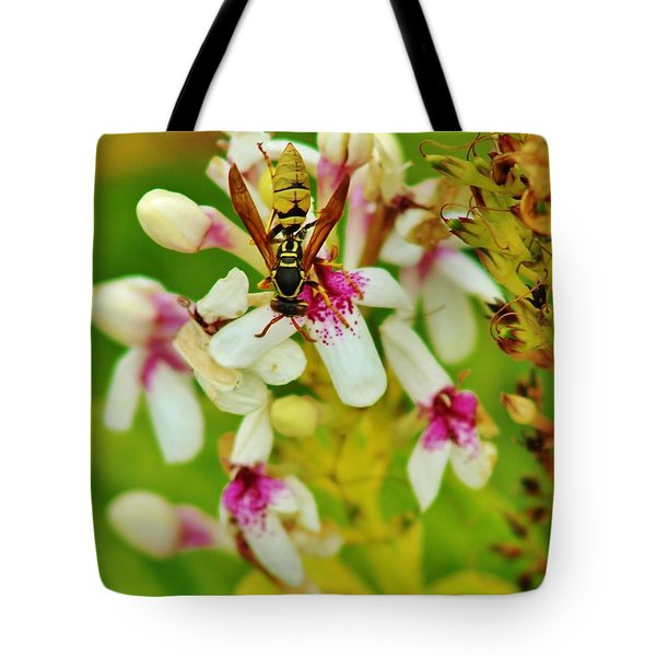 Tote Bag featuring the photograph Wasp Polinating by Craig Wood