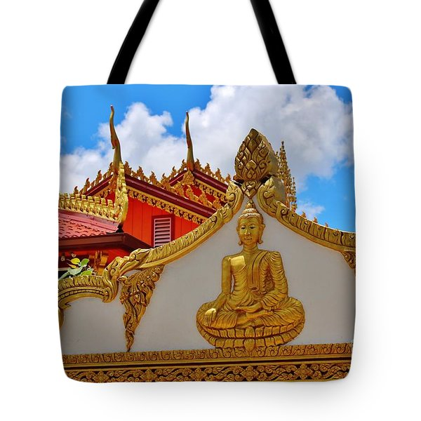 Tote Bag featuring the photograph Wat Lao Sithammaram Of Hawaii by Craig Wood