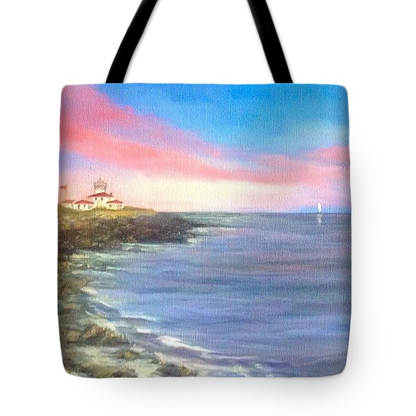 107f8d0c95d2 Tote Bag featuring the painting Watch Hill Light House by Anne Barberi