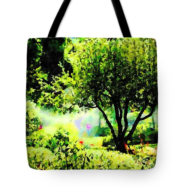 Tote Bag featuring the painting Watch Out For The Sprinklers by Angela Treat Lyon