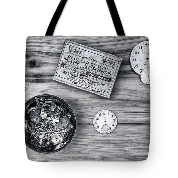Watch Parts On Wood Still Life Tote Bag