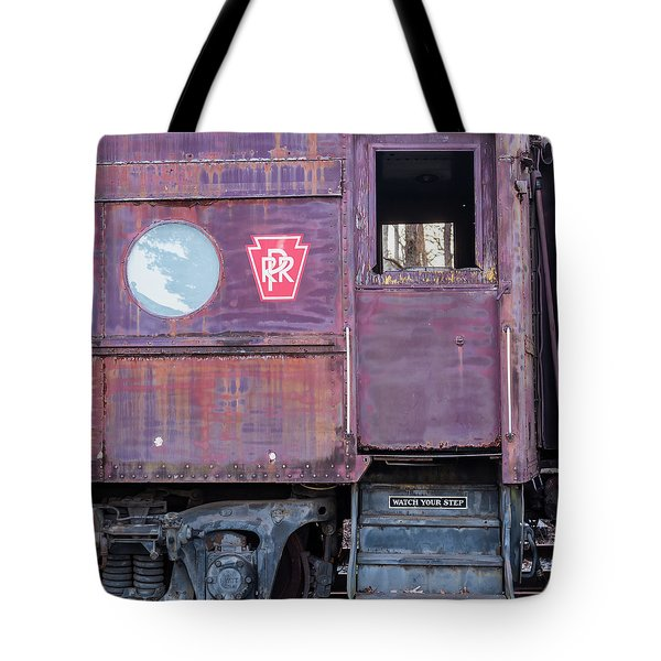 Watch Your Step Vintage Railroad Car Tote Bag by Terry DeLuco
