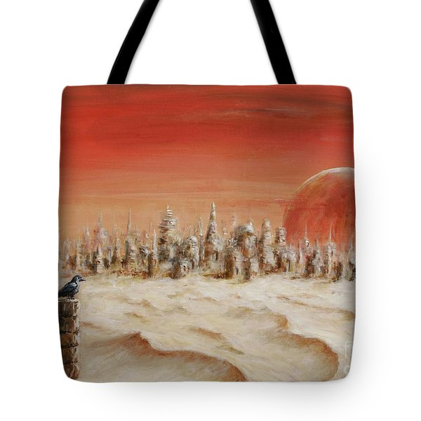 Tote Bag featuring the painting Watcher by Arturas Slapsys