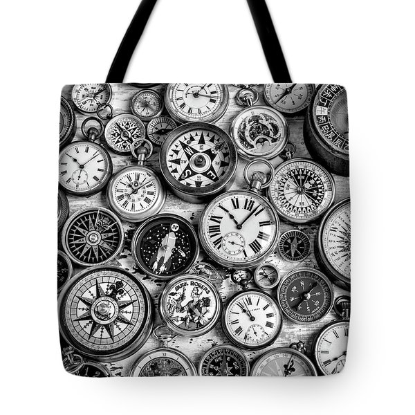 Watches And Compasses In Black And White Tote Bag