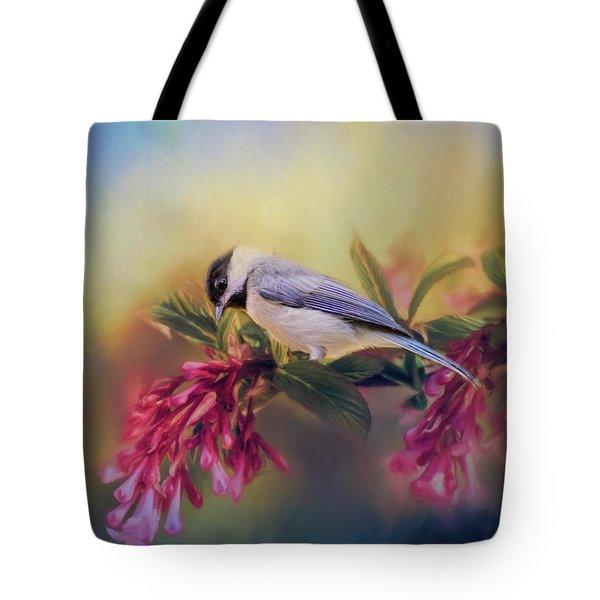 Watching Flowers Bloom Bird Art Tote Bag