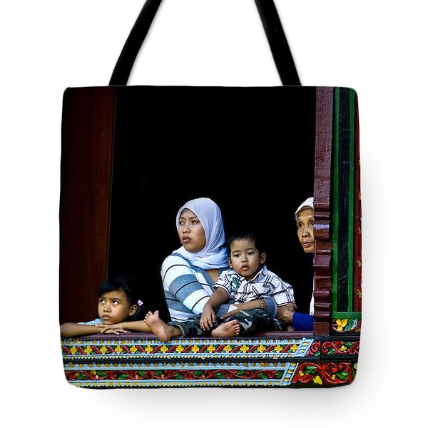 Watching From A Window Tote Bag by Charuhas Images