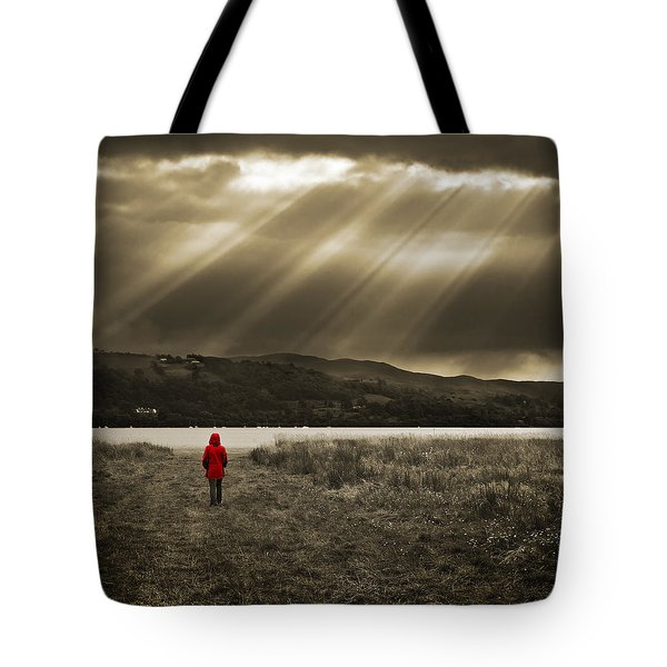 Watching In Red Tote Bag