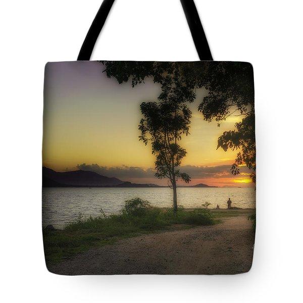 Watching Sunset Tote Bag