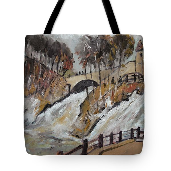 Watching The Cascades De Coo Tote Bag