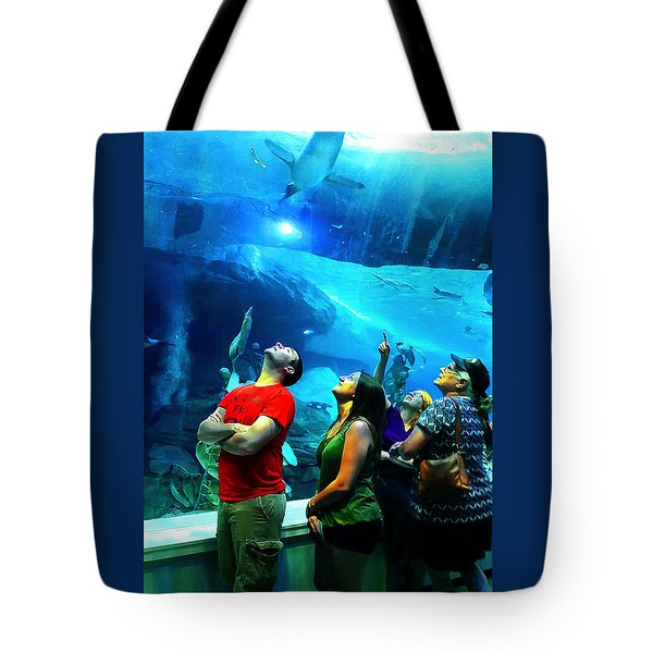 Watching The Penguins Fly Tote Bag