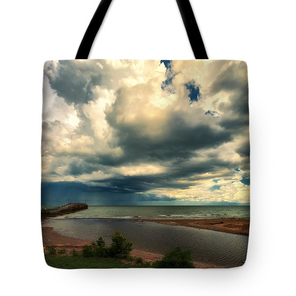 Watching The Storm On Lake Erie Tote Bag