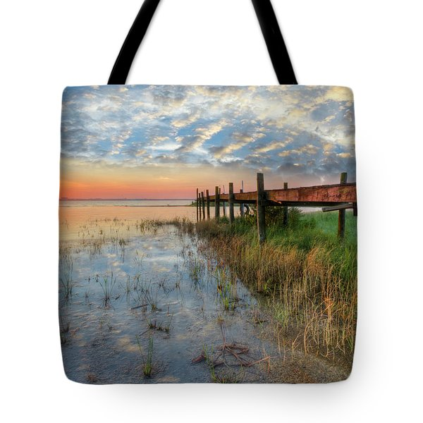 Watching The Sun Rise Tote Bag by Debra and Dave Vanderlaan