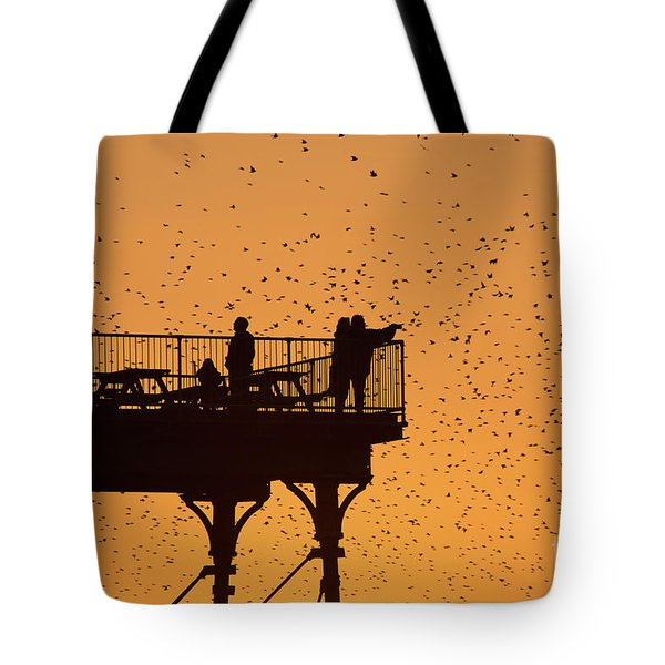 Watching The Sunset And Starlings In Aberystwyth Wales Tote Bag