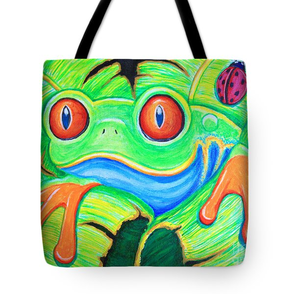 Watching You Red Eyed Tree Frog Tote Bag by Nick Gustafson